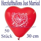 Herzluftballons Just Married, 30 cm, 50 Stück