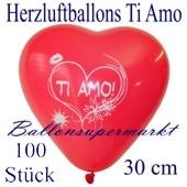 Herzluftballons Ti Amo, 30 cm, 100 Stück
