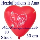 Herzluftballons Ti Amo, 30 cm, 10 Stück