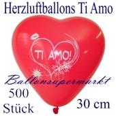 Herzluftballons Ti Amo, 30 cm, 500 Stück