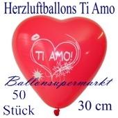 Herzluftballons Ti Amo, 30 cm, 50 Stück