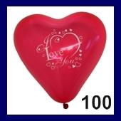 Herzballon I Love You 100 Stück