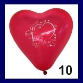 Herzballon I Love You 10 Stück