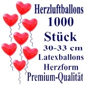 Herzluftballons Rot 1000 Stück / Heliumqualität / Premium