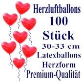 Herzluftballons Rot 100 Stück / Heliumqualität