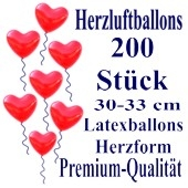 Herzluftballons Rot 200 Stück / Heliumqualität / Premium
