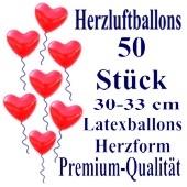 Herzluftballons Rot 50 Stück / Heliumqualität