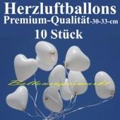 Herzluftballons Weiß 10 Stück / Heliumqualität