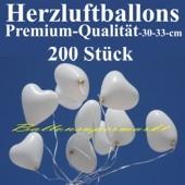 Herzluftballons Weiß 200 Stück / Heliumqualität