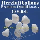 Herzluftballons Weiß 20 Stück / Heliumqualität