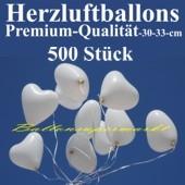 Herzluftballons Weiß 500 Stück / Heliumqualität