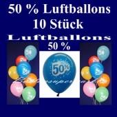 Luftballons 50 Prozent, 10 Stück, bunt gemischt