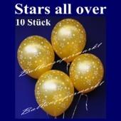 """Luftballons """"Stars All Over"""" Gold Silvester 10 Stück"""