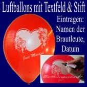 Luftballons Just Married, Rot, mit Stift, 25 Stück, Hochzeit-Luftballons zum Eintragen von Brautpaaren