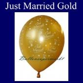 """Luftballons Hochzeit, Latex, 10 Stück """"Just Married"""", gold"""