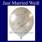"""Luftballons Hochzeit, Latex, 10 Stück """"Just Married"""", weiß"""