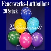 Luftballons Silvester, Motiv Feuerwerk, 20 Stück
