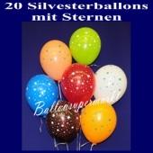 Silvester Luftballons mit Sternen, 20 Stück, Silvester-Sterne-Ballons