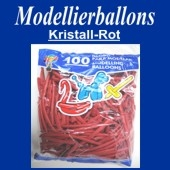 Modellierballons, Kristall-Rot, 100 Stück