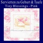 Servietten zu Geburt und Taufe, Pink
