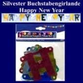 Silvesterdeko Buchstabengirlande Happy New Year, Silber, Schwarz, Gold