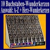 Buchstaben-Wunderkerzen, Auswahl A-Z, 10er Kombination mit Herz-Wunderkerzen