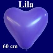 Riesen-Herzluftballons Lila 10 Stück, 60 cm Ø, Heliumqualität