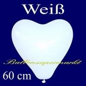Riesen-Herzluftballons Weiß 10 Stück, 60 cm Ø, Heliumqualität