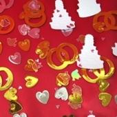 Konfetti Hochzeit, Herzen, Ringe und Hochzeitstorten, Streudeko und Tischdekoration