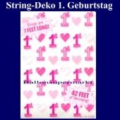 String Dekoration 1. Geburtstag, Rosa