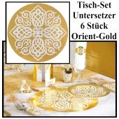 Tisch-Set, Untersetzer, Orient Gold, 6 Stück, Partydekoration Tausen und eine Nacht
