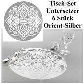 Tisch-Set, Untersetzer, Orient Silber, 6 Stück, Partydekoration Tausend und eine Nacht