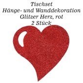 Tischset, Wanddekoration, Glitzer Herz, rot, 2 Stück