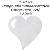 Tischset, Wanddekoration, Glitzer Herz, weiß, 2 Stück