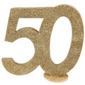 Tischaufsteller Gold Glitzer Zahl 50