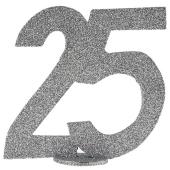 Tischaufsteller Zahl 25, Silber Glitzer