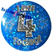 Jumbo Ansteckbutton, Tischaufsteller, I am 4 today, blau