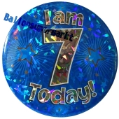 Jumbo Ansteckbutton, Tischaufsteller, I am 7 today, blau