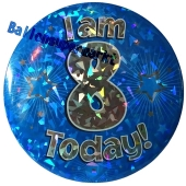 Jumbo Ansteckbutton, Tischaufsteller, I am 8 today, blau