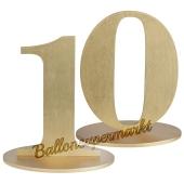 Tischaufsteller Zahl 10 in Gold