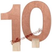 Tischaufsteller Zahl 10 in Rose Gold