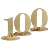 Tischaufsteller Zahl 100 in Gold