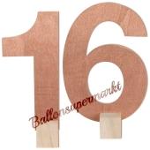Tischaufsteller Zahl 16 in Rose Gold