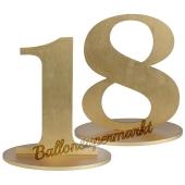 Tischaufsteller Zahl 18 in Gold