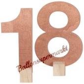 Tischaufsteller Zahl 18 in Rose Gold