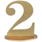 Tischaufsteller Zahl 2 in Gold