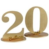 Tischaufsteller Zahl 20 in Gold