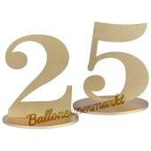 Tischaufsteller Zahl 25 in Gold