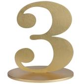 Tischaufsteller Zahl 3 in Gold