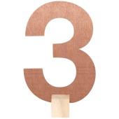 Tischaufsteller Zahl 3 in Rose Gold